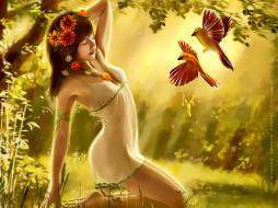 календари, фэнтези, девушка, венок, птица, цветы, природа, растение, calendar, 2020