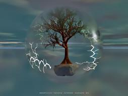 календари, 3д-графика, дерево, молния, шар, calendar, 2020
