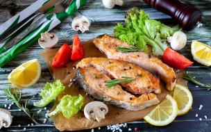 обои для рабочего стола 1920x1200 еда, рыбные блюда,  с морепродуктами, форель, лимон