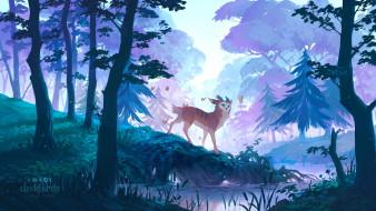 животное, лес, ручей