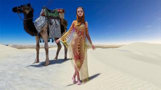 3д графика, люди и животные , people and animals, девушка, фон, взгляд, пустыня, верблюд