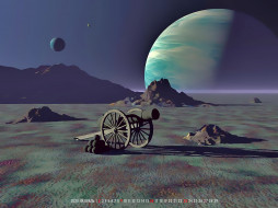 календари, 3д-графика, пушка, ядро, планета, calendar, 2020