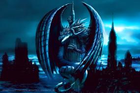 календари, фэнтези, дракон, здание, крылья, calendar, 2020