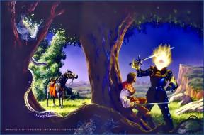 календари, фэнтези, мужчина, огонь, конь, оружие, природа, лошадь, существо, calendar, 2020