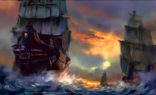 календари, фэнтези, парусник, море, корабль, водоем, вода, calendar, 2020