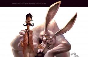 календари, рисованные,  векторная графика, кролик, трубка, мужчина, усы, очки, животное, calendar, 2020
