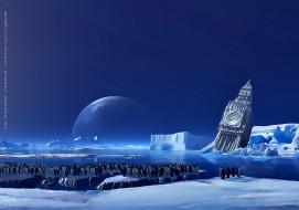календари, фэнтези, пингвин, водоем, лед, снег, архитектура, calendar, 2020