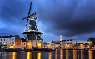 haarlem, netherlands, города, - огни ночного города