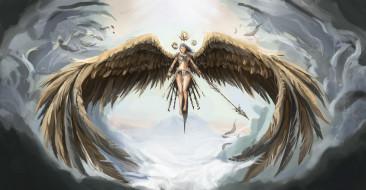 девушка, фон, полет, крылья
