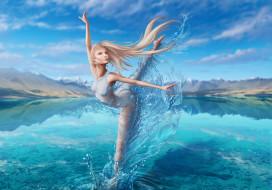 девушка, фон, поза, вода