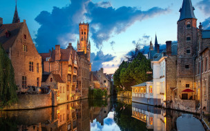 города, брюгге , бельгия, канал, дома