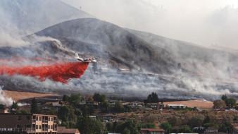 авиация, грузовые самолёты, дым, пожары, калифорния, самолет, геркулес