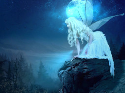 девушка, фон, крылья, скала
