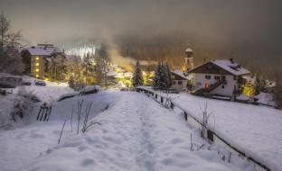 зима, холод, италия, вечер, снег, огни, церковь