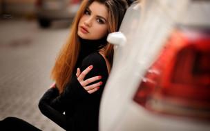 девушки, - рыжеволосые и разноцветные, рыжая, машина