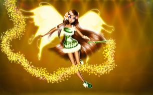 девушка, фон, взгляд, крылья, палочка