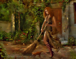 метла, кошка, женщина, дом, девушка, уборка, calendar, 2020