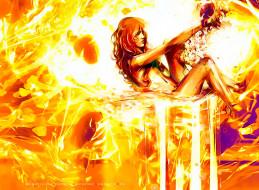 девушка, фон, оранжевый, желтый, calendar, 2020