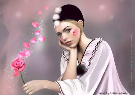 девушка, цветок, лепестки, пьеро, взгляд, calendar, 2020