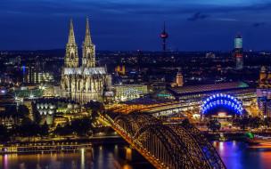 города, кельн , германия, собор, мост, ночь, огни