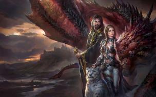 девушка, мужчина, барс, дракон, униформа, фон, взгляд