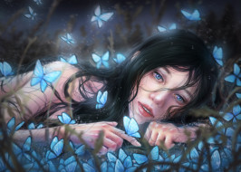 девушка, фон, взгляд, бабочки