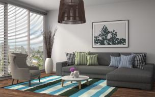 диван, картина, окно, люстра, гостиная