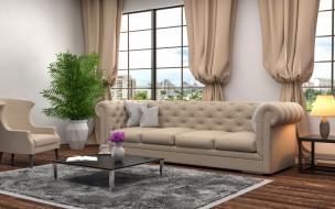 цветок, диван, окно, ваза, шторы, гостиная