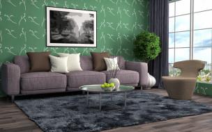 диван, интерьер, картина, гостиная