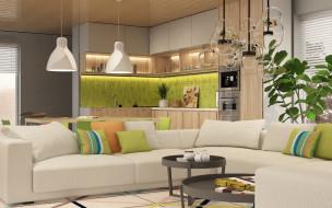 мебель, интерьер, кухня, люстра, гостиная