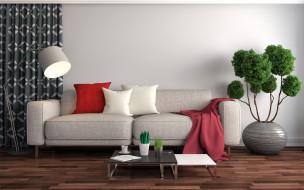 интерьер, гостиная, цветы, диван, подушки, ваза, плед