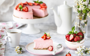еда, торты, ягоды, чай, клубника, чашка, торт, чизкейк