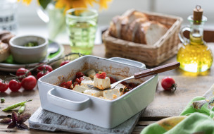 еда, сырные изделия, хлеб, закуска, оливковое, масло, базилик, сыр, фета, помидорами, черри, запеченный