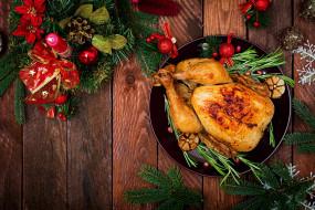 еда, мясные блюда, курица, мясо, рождество, праздник