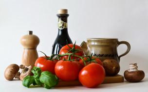 еда, помидоры, базилик, томаты