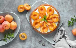 еда, пироги, пирог, персики, мята, абрикосовый