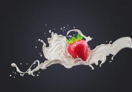 векторная графика, еда , food, фон, всплеск, молоко, клубника