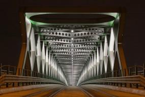 города, братислава , словакия, архитектура, мост, братислава, ночь, огни, сталь, дорога, симметрия