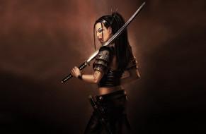 девушка, азиатка, меч, оружие, красный, поза, рисованный, оружие, лезвие, клинок