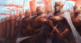 фэнтези, эльфы, девушка, фон, взгляд, латы, рыцари