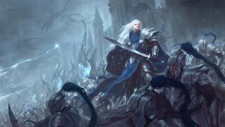 фэнтези, эльфы, мужчина, фон, рыцари, бой, сабля