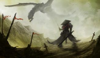 фэнтези, драконы, человек, фон, дракон