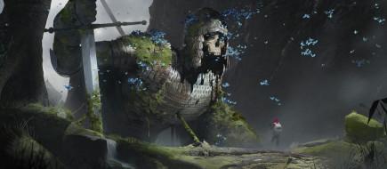 рыцарь, фон, великан, скелет, череп, меч, человек