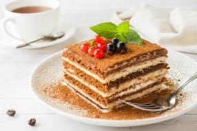еда, торты, торт, выпечка, сладость, ягоды, мята