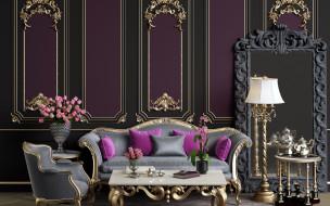 интерьер, гостиная, диван, подушки, лампа