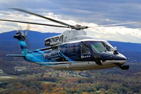 вертолет, небо, гражданская авиация, сикорский