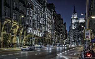 города, мадрид , испания, улица, вечер