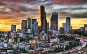 города, сиэтл , сша, сиэтл, башня, смита, вечер, закат, небоскребы, современные, здания, городской, вид, горизонт