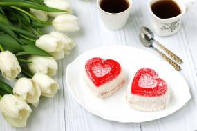 еда, пирожные,  кексы,  печенье, пирожное, цветы, тюльпаны, сладость