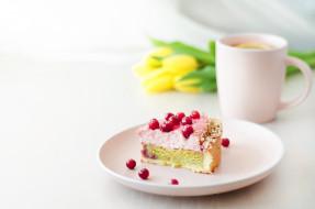 еда, торты, цветы, ягоды, лимон, чай, тюльпаны, торт